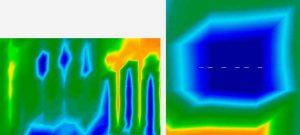 """Les géo-radars confirment la présence d'importantes cavités sous-terraines (en bleu) dans le sous-sol du """"Temple des Trois Portes"""". (c) Thierry Jamin, avril 2012."""