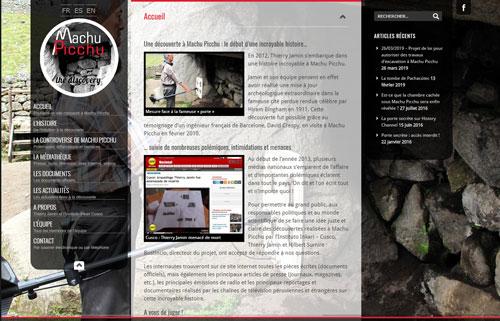 Site internet consacré à la découverte d'une chambre secrète à Machu Picchu