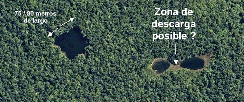 Zone prévue pour l'implantation du Camp de Base de la prochaine campagne d'exploration de Thierry Jamin et de son groupe. (C) Airbus Defense & Space, juin 2012.